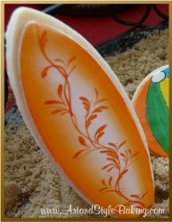 GAVIOTA Beach Scene Orange Surf Board Cookie Favor
