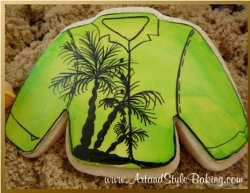 HUNTINGTON Beach Scene Green Shirt Cookie Favor