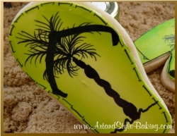 LAGUNA Beach Scene Green Flip Flop Cookie Favor