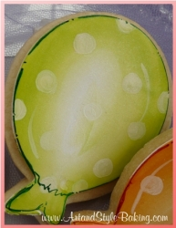 PAMBY Birthday Girl Green Balloon Cookie Favor