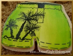 SEAL Beach Scene Green Shorts Cookie Favor